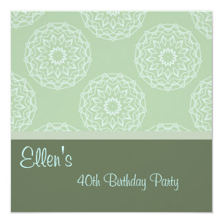 Birthday Invitation Mint Green Floral Abstract
