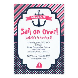Birthday Invitation Nautical Theme in Pink & Navy
