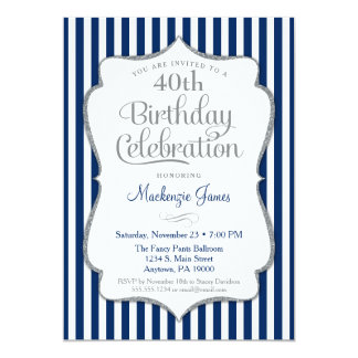 Birthday Invitation Navy Blue Silver Adult
