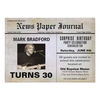 Birthday Invitation NEWS PAPER/AGE/Photo Inserts