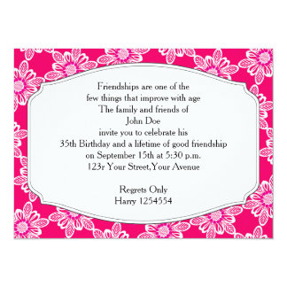 Birthday Invitation Pink Floral Lace