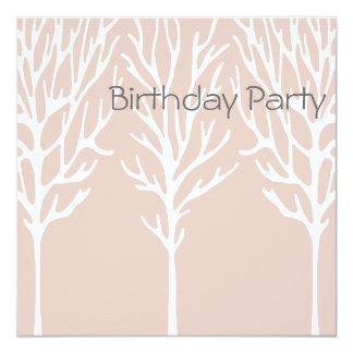 Birthday Invitation Pink Tree