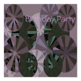 Birthday Invitation Purple & Green Circle Abstract