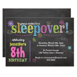 Teen birthday invitations announcements zazzle birthday invitation sleepover party chalk neon card filmwisefo Images