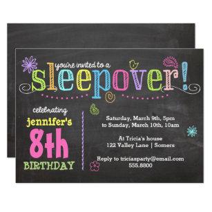 Birthday Invitation Sleepover Party Chalk Neon