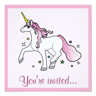 Birthday Invitation Unicorn Trotting Among Stars