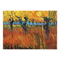 Birthday invitation.Willows at Sunset by van Gogh. Custom Invites
