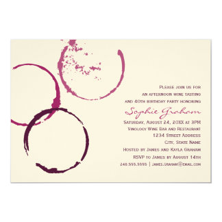 "Birthday Invitation | Wine Theme 5"" X 7"" Invitation Card"