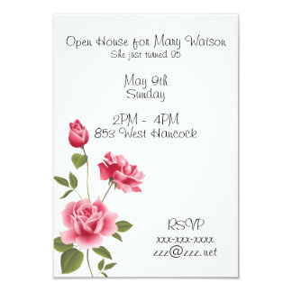 Birthday Invitation With Pink Roses