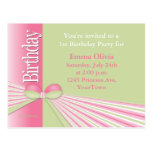 Birthday Invitation with Ribbon and Bow Postcard