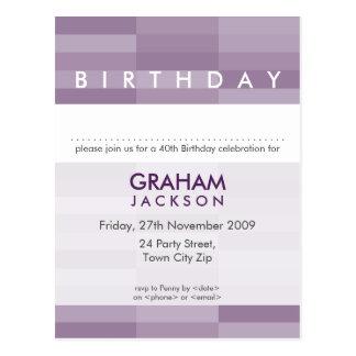 BIRTHDAY INVITE :: modern rectangular panel 4 Postcard