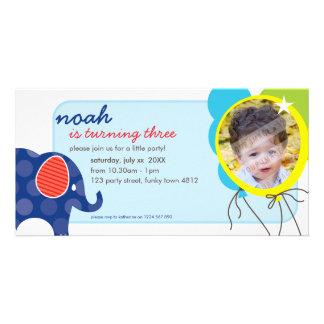 BIRTHDAY INVITE PHOTOCARD :: elephant + balloons 3