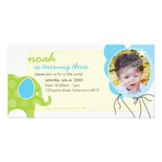 BIRTHDAY INVITE PHOTOCARD :: elephant + balloons 6