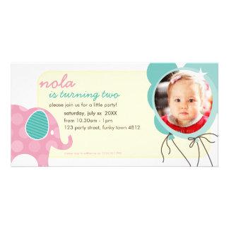 BIRTHDAY INVITE PHOTOCARD :: elephant + balloons 7