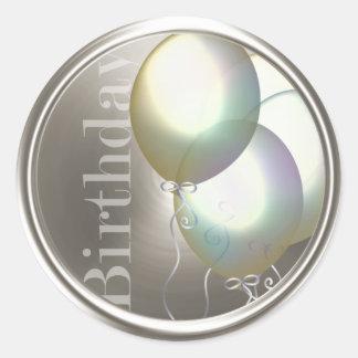 Birthday Iridescent Balloons Silver Envelope Seal Classic Round Sticker