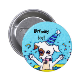 Birthday Jack Russell in a present box 2 Inch Round Button