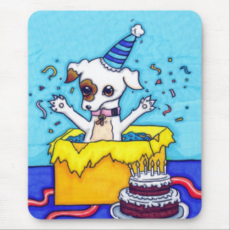 Birthday Jack Russell in a present box Mouse Pad