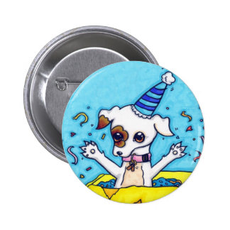 Birthday Jack Russell in a present box Pinback Button