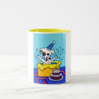 Birthday Jack Russell in a present box Two-Tone Coffee Mug