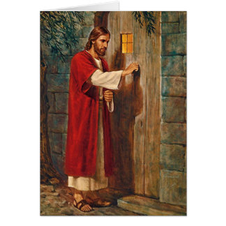 Birthday Jesus Knocks On The Door Card