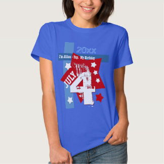 BIRTHDAY July 4th RED WHITE BLUE Custom Year V11A Shirt