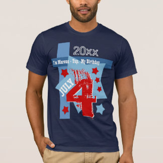 BIRTHDAY July 4th RED WHITE BLUE Custom Year V11BC T-Shirt