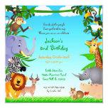 "Birthday Jungle Animals Flat Invitation 5.25"" Square Invitation Card"
