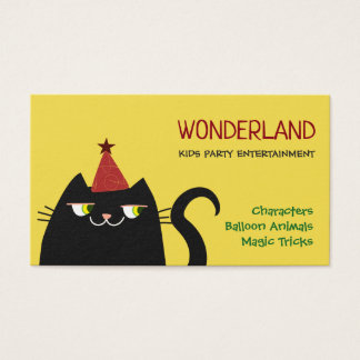 Birthday Kids Party Cat Cute Vibrant Colors Modern Business Card