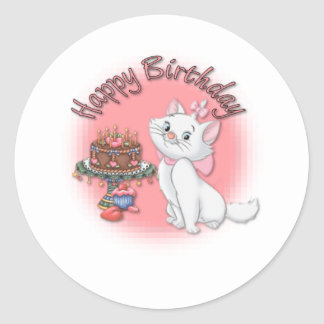 Birthday Kitten Classic Round Sticker