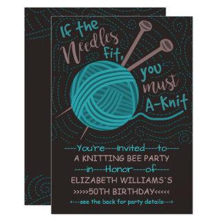 Birthday Knitting Bee Party | Funny Knitting Yarn Card