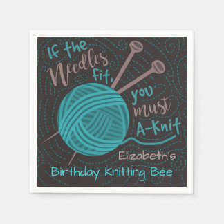 Birthday Knitting Bee Party | Funny Knitting Yarn Napkin