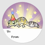Birthday Leopard Gecko Gift Tags Round Stickers