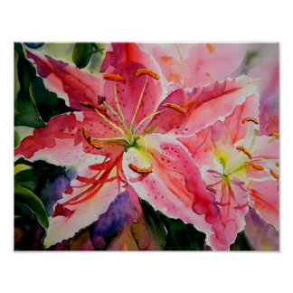 Birthday Lilies floral poster