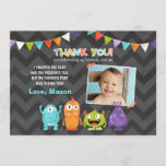 """Birthday Little Monster Thank You Card<br><div class=""""desc"""">♥ A beautiful way to thank your guests!</div>"""