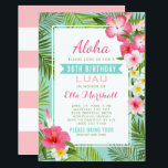 """Birthday Luau Invitations   Tropical Flowers<br><div class=""""desc"""">Birthday luau party invitations feature a Hawaiian party theme with &quot;Aloha&quot; and lush frame of green palm leaf fronds and tropical hibiscus flowers in shades of hot pink, sunshine yellow, and white. Stylish text with aqua blue banner title can be fully-personalized. Background color is seafoam blue / green. A custom...</div>"""