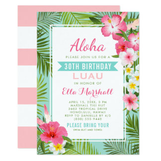 Birthday Luau Invitations | Tropical Flowers