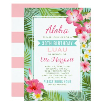 Birthday Luau Invitations | Tropical Flowers by Plush_Paper at Zazzle