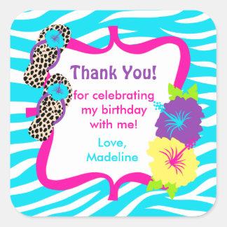 Birthday Luau Party Favor Tag Square Sticker