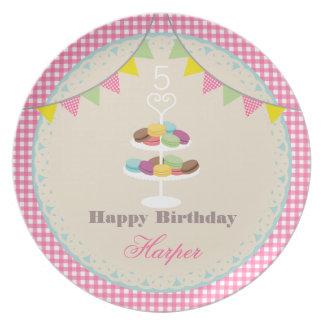 Birthday Macarons Plate Pink Gingham