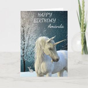 Birthday Magical Unicorn Snow Scene Personalized Card