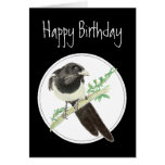 Birthday Magpie, Watercolor Bird Collection, Greeting Card