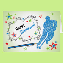 Birthday! Male Scribble Hockey Greeting Card