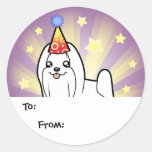 Birthday Maltese Gift Tags (show cut) Classic Round Sticker