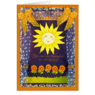 Birthday map - LAUGHTER SUN AND SUNFLOWERS Greeting Card