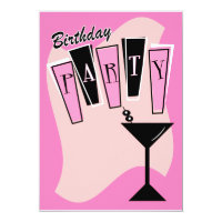 Birthday Martini Pink Card