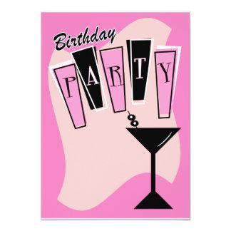 Birthday Martini Pink Card
