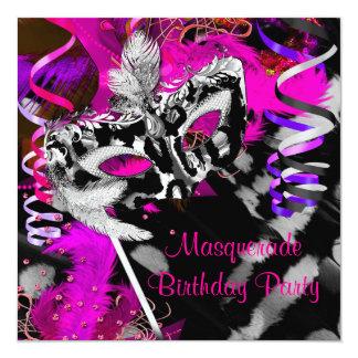 Birthday Masquerade Party Ball Black Silver Pink Invite