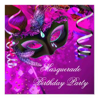 "Birthday Masquerade Party Mask Purple Pink 5.25"" Square Invitation Card"