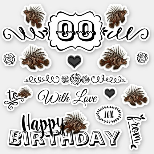 Birthday men fish doodle typography  Personalize Sticker