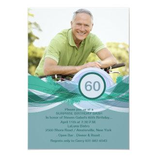 Birthday Milestone Blue Photo Invitation